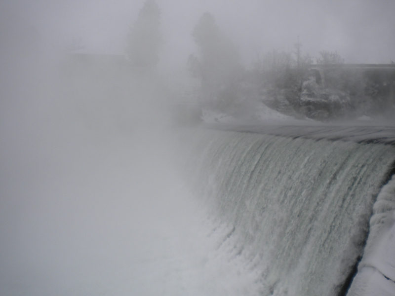 Spillway at the Spokane Falls near the Monroe Street Bridge and the Monroe Hydroelectric Development just West of Riverfront Park